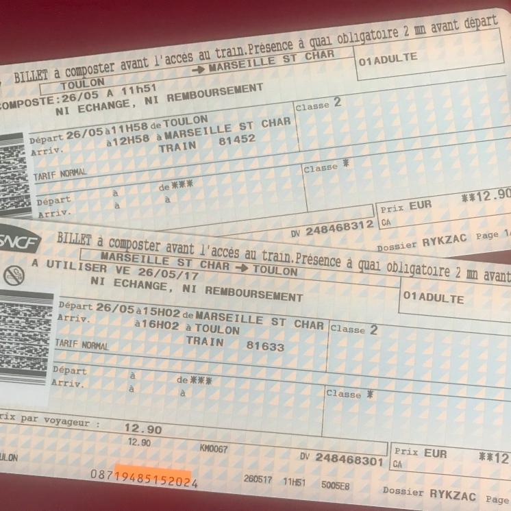Toulon-Marsilya Tren Bileti